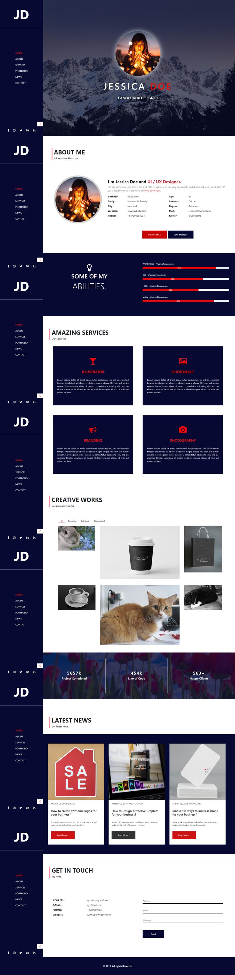 Jessica Doe Creative Portfolio HTML Template PSD Image